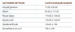 horaire sainte marie